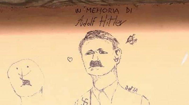 Svastiche ed il ritratto di Hitler nel parco giochi di Mondolfo